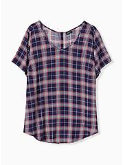 Abbey - Navy & Pink Plaid Gauze Button Back Blouse, PLAID - GREY, hi-res
