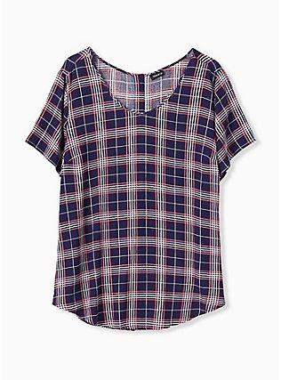 Abbey - Navy & Pink Plaid Gauze Button Back Blouse, PLAID - GREY, hi-res