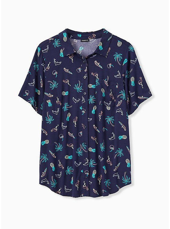 Navy Tropical Print Challis Button Front Shirt, , hi-res