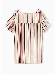 Multi Stripe Georgette Button Down Blouse, STRIPE - WHITE, alternate