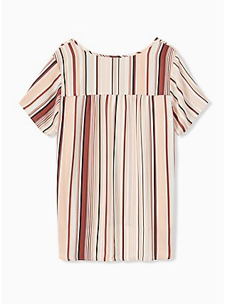 Plus Size Multi Stripe Georgette Button Down Blouse, STRIPE - WHITE, alternate