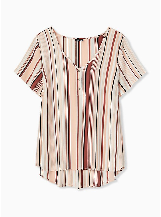 Plus Size Multi Stripe Georgette Button Down Blouse, , hi-res