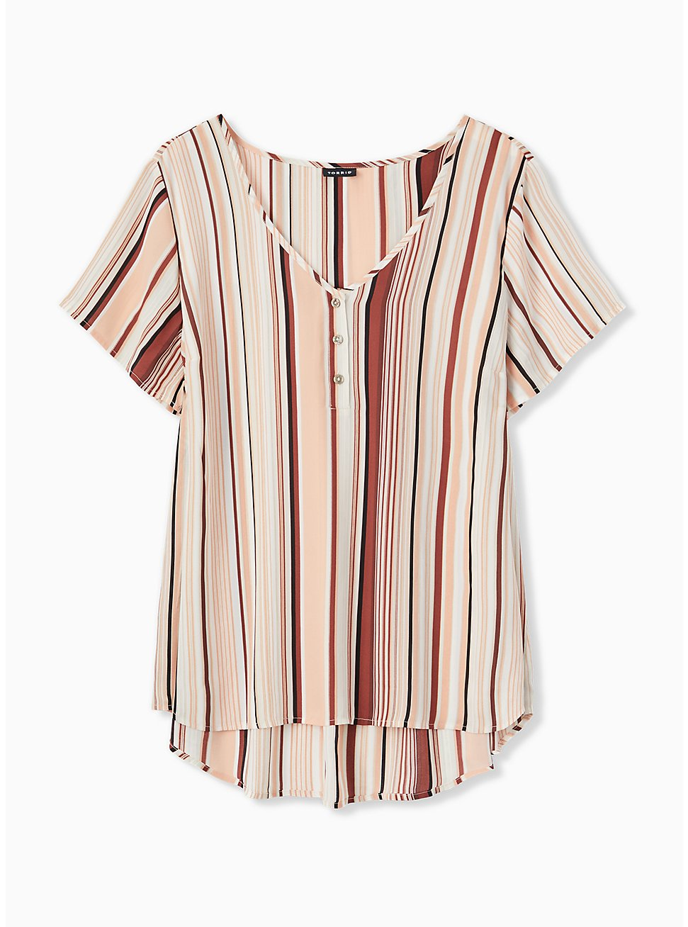 Multi Stripe Georgette Button Down Blouse, STRIPE - WHITE, hi-res