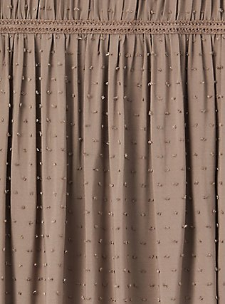 Dark Taupe Swiss Dot Crochet Inset Top, FALCON, alternate