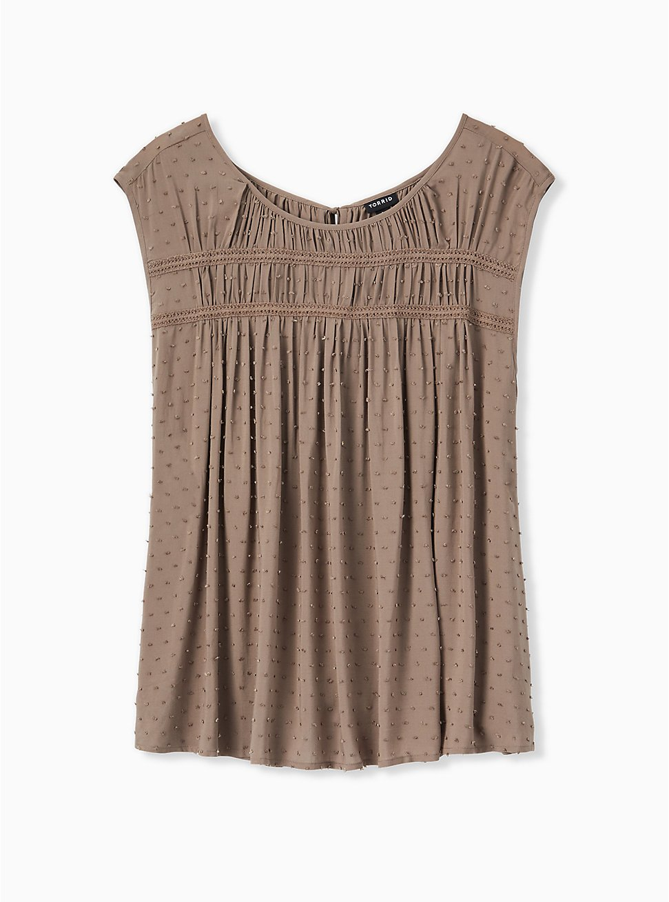 Dark Taupe Swiss Dot Crochet Inset Top, FALCON, hi-res