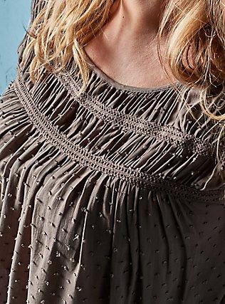 Dark Taupe Swiss Dot Crochet Inset Top, FALCON, pdped