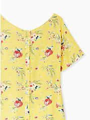 Plus Size Abbey - Yellow Floral Gauze Button Back Blouse, FLORAL - YELLOW, alternate