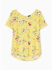 Plus Size Abbey - Yellow Floral Gauze Button Back Blouse, FLORAL - YELLOW, hi-res