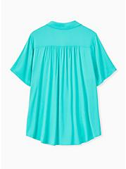 Plus Size Turquoise Challis Button Front Shirt, AQUA GREEN, alternate