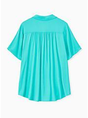 Turquoise Challis Button Front Shirt, AQUA GREEN, alternate