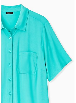Turquoise Challis Button Front Shirt, AQUA GREEN, alternate