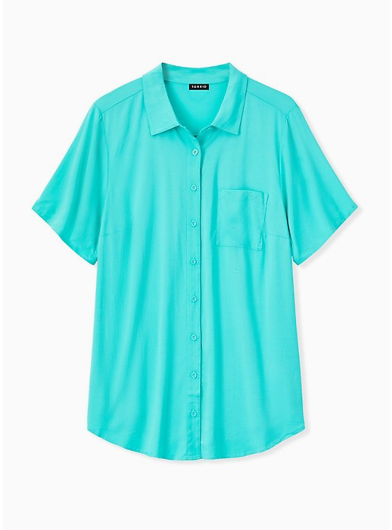 Turquoise Challis Button Front Shirt, , hi-res