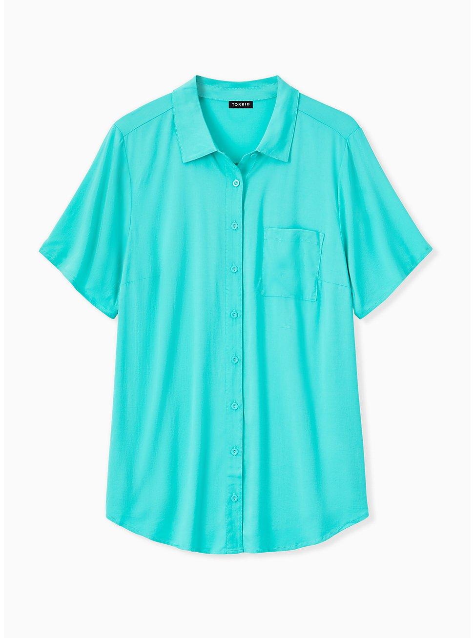Turquoise Challis Button Front Shirt, AQUA GREEN, hi-res
