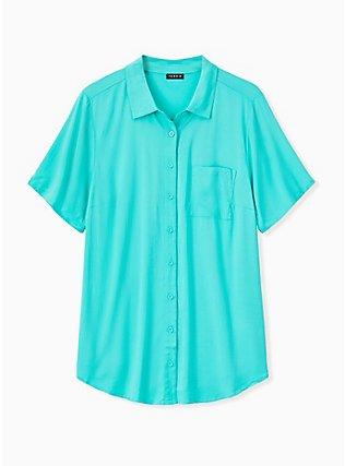 Turquoise Challis Button Front Shirt, AQUA GREEN, hi-res