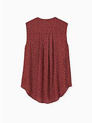 Harper - Brick Red Ditsy Dots Georgette Pullover Tank, DOTS - BROWN, alternate