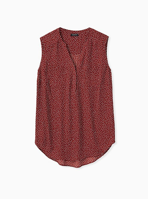Harper - Brick Red Ditsy Dots Georgette Pullover Tank, , hi-res