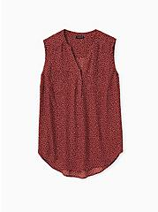 Harper - Brick Red Ditsy Dots Georgette Pullover Tank, DOTS - BROWN, hi-res