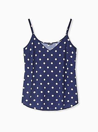 Plus Size Essential Navy Polka Dot Stretch Woven Cami, POLKA DOT BLUE, hi-res
