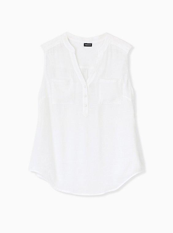 Plus Size Harper- White Challis Pullover Tank, , hi-res