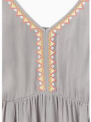 Plus Size Grey Crinkled Gauze Embroidered Hi-Lo Babydoll Tank, FROST GRAY, alternate