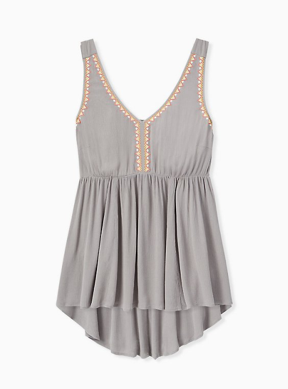 Grey Crinkled Gauze Embroidered Hi-Lo Babydoll Tank, , hi-res