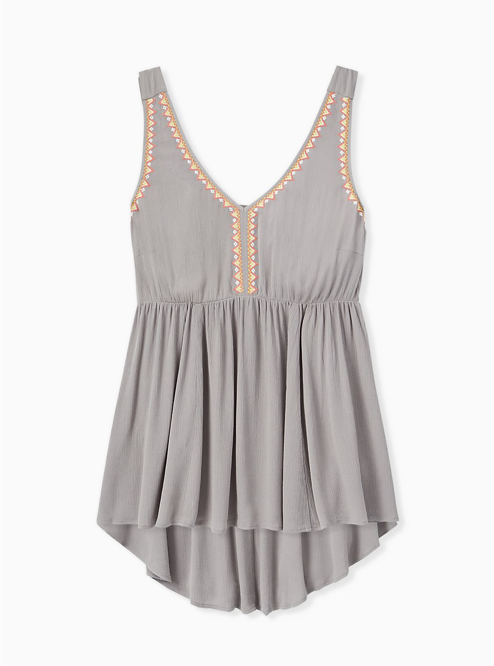 Plus Size Grey Crinkled Gauze Embroidered Hi-Lo Babydoll Tank, FROST GRAY, hi-res