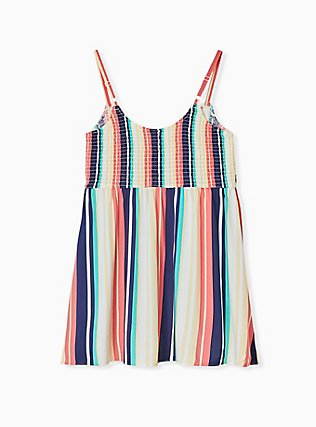 Multi Stripe Challis Smocked Babydoll Tunic Cami, STRIPE - WHITE, alternate