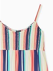 Plus Size Multi Stripe Challis Smocked Babydoll Tunic Cami, STRIPE - WHITE, alternate