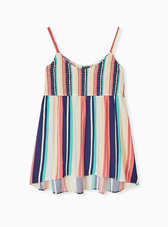 Plus Size Multi Stripe Challis Smocked Babydoll Tunic Cami, STRIPE - WHITE, hi-res