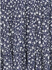 Navy Floral Gauze Shirred Hem Babydoll Cami, FLORAL - BLUE, alternate