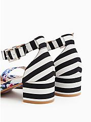 Black Stripe & Floral Ankle Strap Block Heel (WW), MULTI FLORAL BORDER- WHITE, alternate