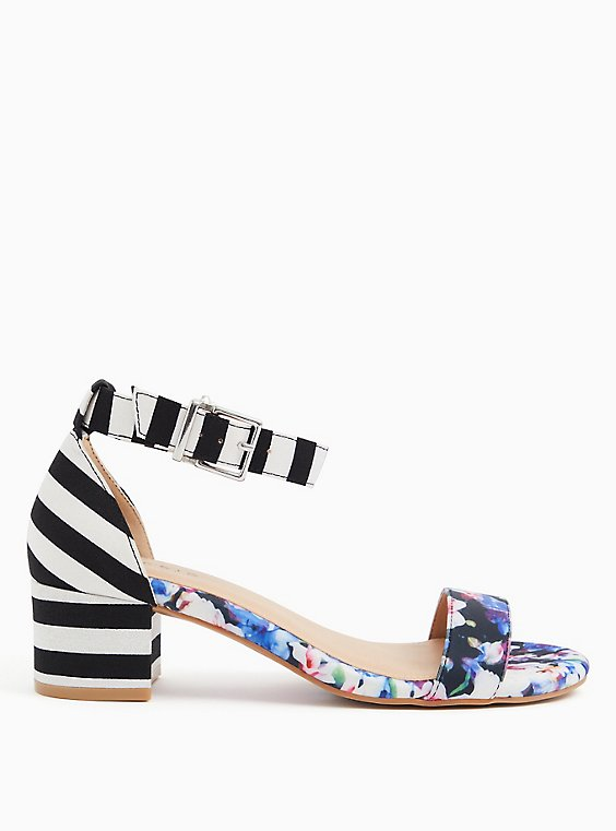Black Stripe & Floral Ankle Strap Block Heel (WW), , hi-res
