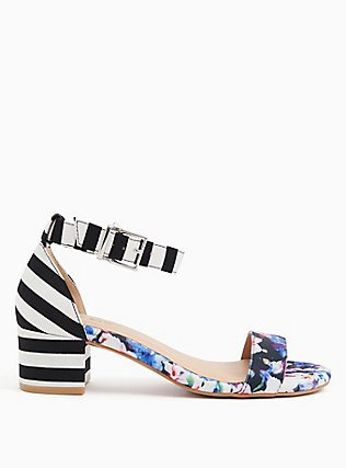 Black Stripe & Floral Ankle Strap Block Heel (WW), MULTI FLORAL BORDER- WHITE, hi-res