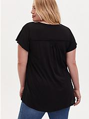 Black Slub Button Front Swing Top , DEEP BLACK, alternate