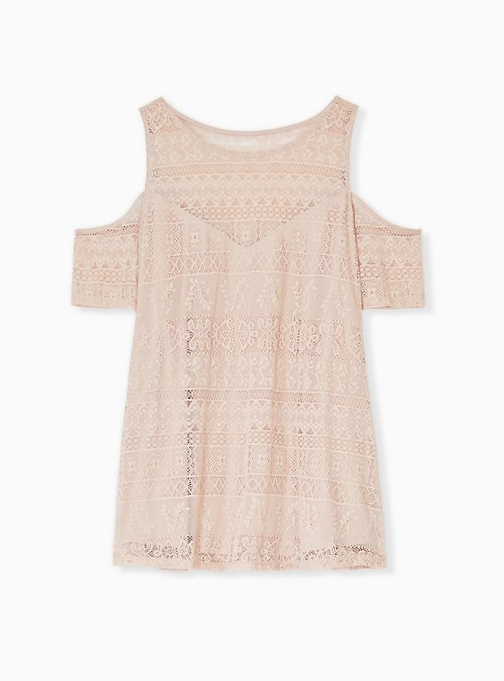 Pale Pink Lace Cold Shoulder Top, , hi-res
