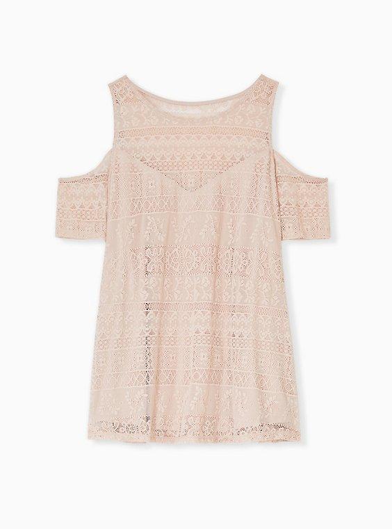 Plus Size Pale Pink Lace Cold Shoulder Top, , hi-res