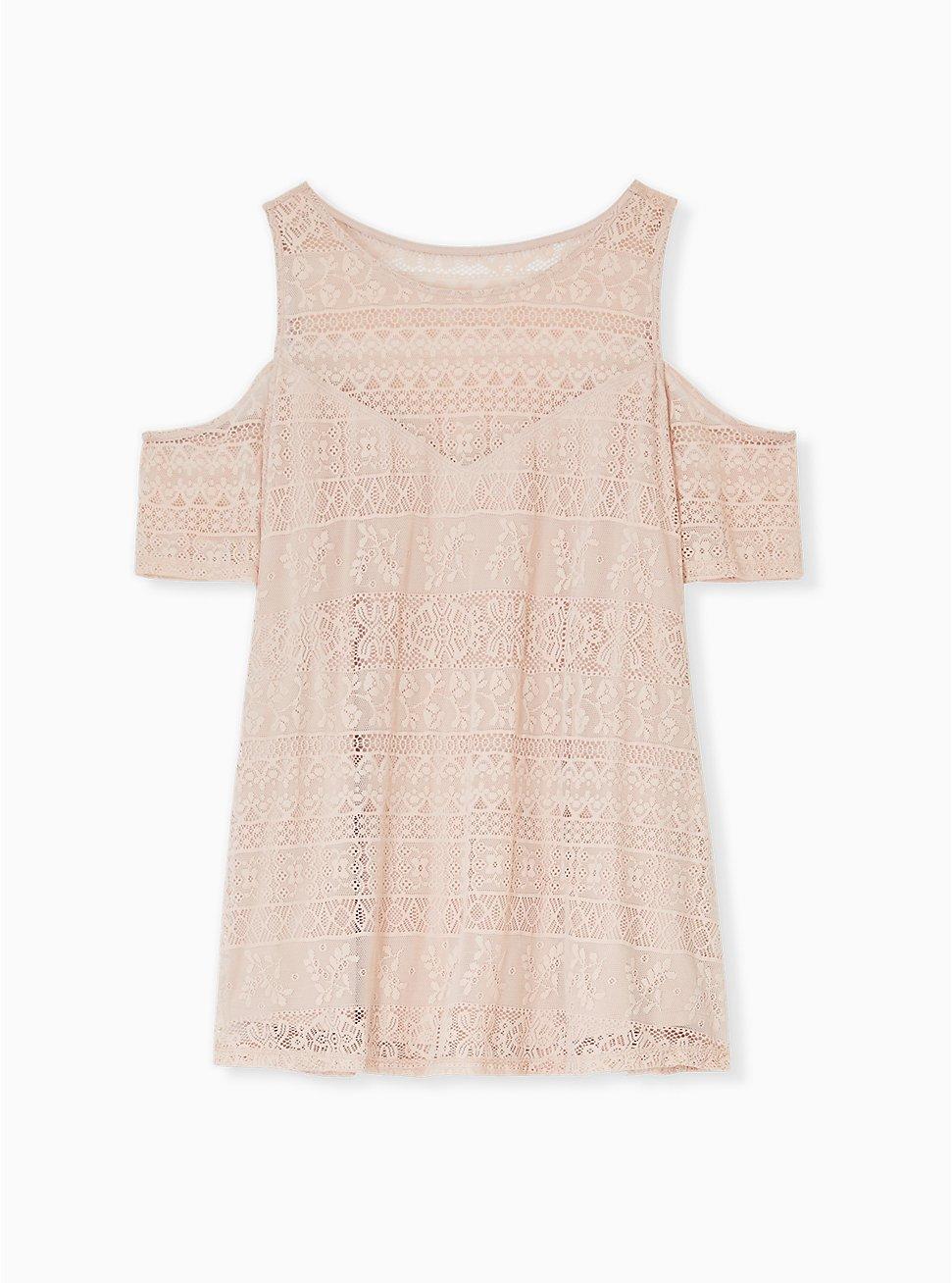 Pale Pink Lace Cold Shoulder Top, ROSE DUST, hi-res