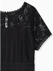 Black Lace Peplum Top, DEEP BLACK, alternate