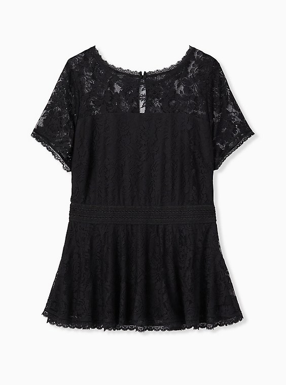 Plus Size Black Lace Peplum Top, , hi-res