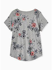 Classic Fit Pocket Tee - Heritage Slub Grey Floral, FLORALS-NAVY, alternate