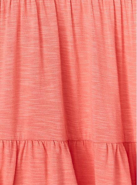 Super Soft Coral Shirred Hem Babydoll Cami, WILD ORANGE, alternate