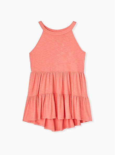 Super Soft Coral Shirred Hem Babydoll Cami, WILD ORANGE, hi-res