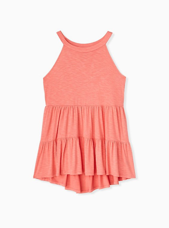 Super Soft Coral Shirred Hem Babydoll Cami, , hi-res