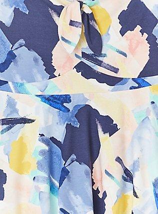 Super Soft Blue Brushstrokes Tie Front Off Shoulder Peplum Top, PAINT BRUSH TIPS, alternate