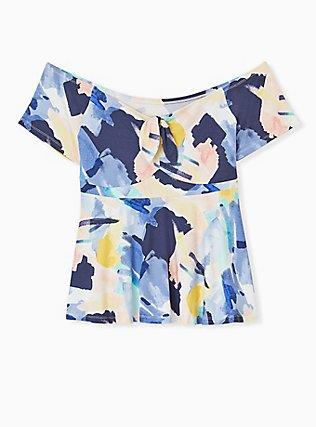 Plus Size Super Soft Blue Brushstrokes Tie Front Off Shoulder Peplum Top, PAINT BRUSH TIPS, hi-res