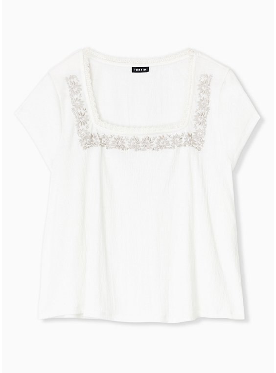 Plus Size Ivory Crepe Embroidered Top, , hi-res