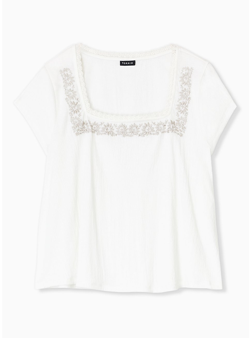Ivory Crepe Embroidered Top, CLOUD DANCER, hi-res