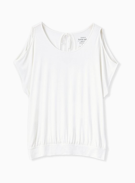 Plus Size Super Soft Ivory Cold Shoulder Tee, , hi-res