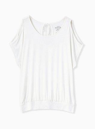 Plus Size Super Soft Ivory Cold Shoulder Tee, CLOUD DANCER, hi-res