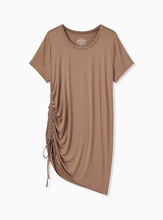 Plus Size Super Soft Dark Taupe Drawstring Side Tunic Tee, , hi-res